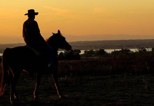 Cowboy, Sunset, Lake, Dusk, Country, Western