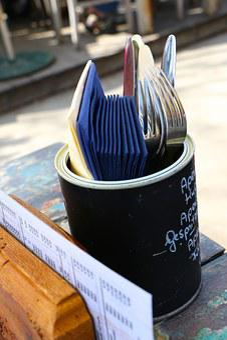Table Cutlery, Paper Towels, Menu Map