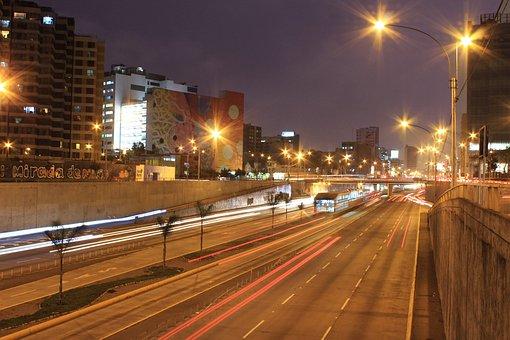 Night, Track, Dusk, City, Cars, Lights, Highway