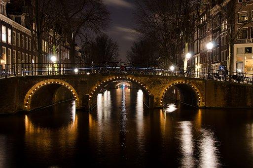 Bridge, Amsterdam, Lights, Night, Netherlands, Water