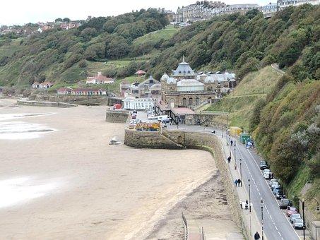Beach, Sea, Sand, Shore, Drive, Road, Scarborough