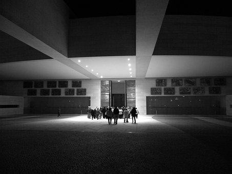 Portugal, Fatima, Modern Architecture, Black And White
