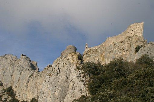 Château De Peyrepertuse, Rock, Castle, Mountains