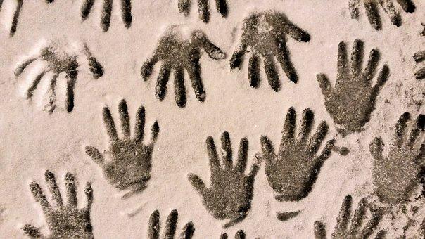 Snow, Hands, Winter, Children, Season, Imprint, Shape