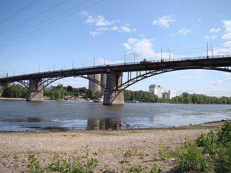 Bridge, River, Samarka, Samara, Russia, Sky, Clouds