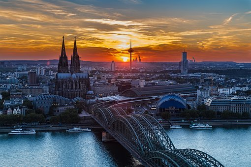 Cologne, Cologne Cathedral, Sunset