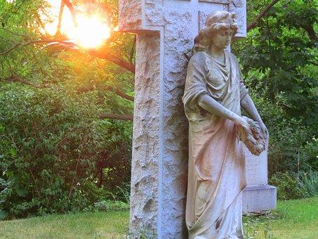 Angel, Cemetery, Cross, Sun, Stonework, Stone, Artistic