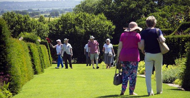Elderly Visitors, Rhs Garden, Hyde Hall, Essex, Lawn