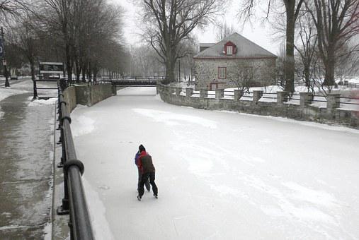 Lachine Canal, Canada, Couple, Skating, Frozen, Water