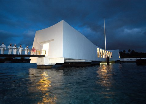 Pearl Harbor, Hawaii, Evening, Dusk, Lights, Building