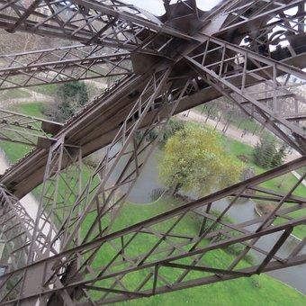 Eiffel, Tower, Paris, France, Landmark, Interior, Metal