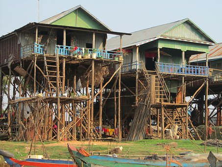 Cambodia, Kampong Pluk, Fishermen Houses, Architecture