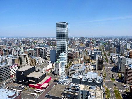 Japan, Sapporo, Hokkaido, Panoramic View, Urban