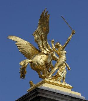 Paris, France, Sculpture, Statue, Monument, Sky, Clouds