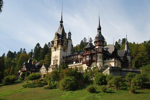 Romania, Castle, Sunset, Old, Peles Castle