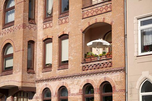 Tenement House, Brick, Balcony, Summer Day, Parasol
