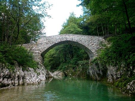 River, Bridge, Stone, Nadiža, Slovenia