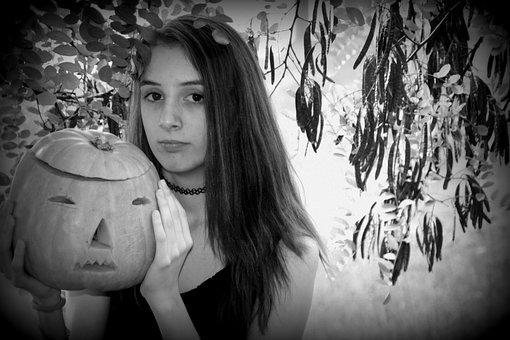 Halloween, Pumpkin, Girl, Forest