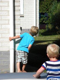 Children, Playing, Boys, Kids, Hide And Seek, Peekaboo