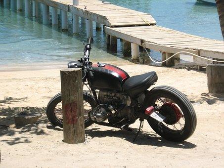 Motorcycle, Dock, Sea, Honduras, Roatan