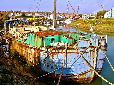 Rusting, Rusty, Old Boat, Houseboat, Depilated
