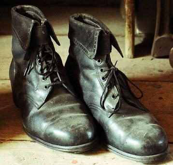 Shoes, Leather Boots, Leather Shoes, Old, Black
