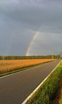 Rainbow, Intersect, Perspective, Rural, Sky, Path