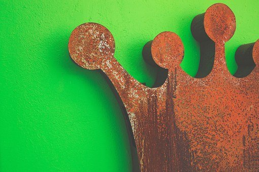 Crown, King, Royal, Arts, Rust, Iron, Abstract, Green