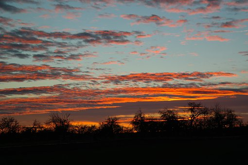 Sunset, Swabian Alb, Orchards, Evening Sky, Sky, Clouds