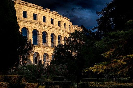 The Coliseum, Dark, Pula, Roman Empire, Evening