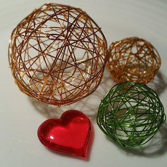 Valentine's Day, Wire, Ball, Heart, Green, Orange
