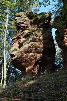 Rock, Sandstone From The Vosges, Alsace, France, Forest