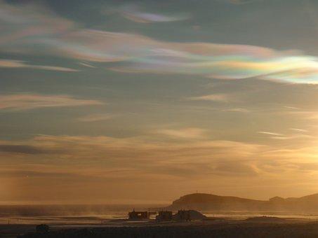 Nacreous, Clouds, Ross, Island, Antarctica, Hut, Point