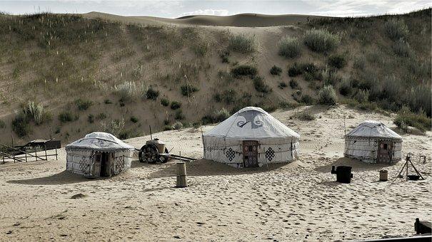 Desert, Sand, Dunes, Huts, Tents, Beduins