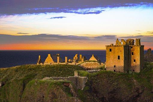 Dunnottar, Castle, Sunset, Scotland, Scottish, Sea