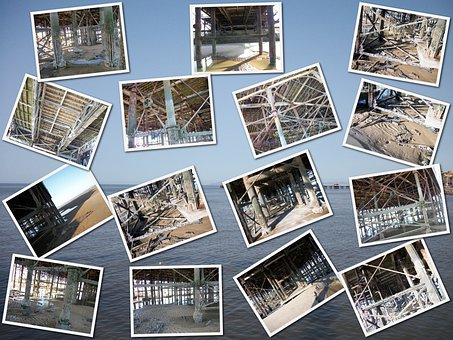 Collage, Central, Pier, Blackpool, Metal, Corroded