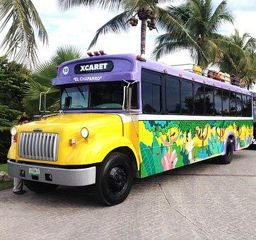Bus, Xcaret, México, Cancun, Mexico, Travel, Vacation