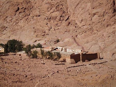 Monastery, Sinai, Desert, Stone Desert, Egypt