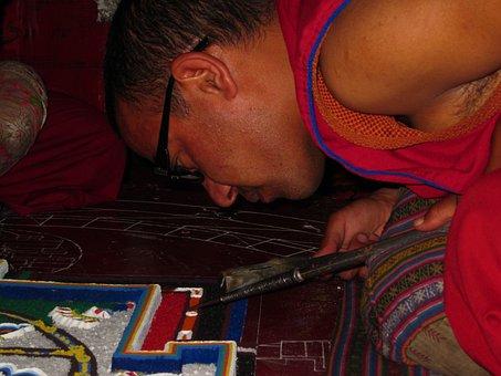 Monk Preparing Mandala, Mandala, Spituk Monastery