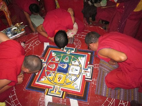 Spituk Monastery, Mandala Preparation, Painting, Monk