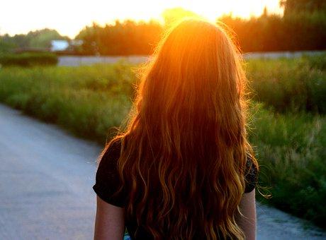 Girl, Sunset, Long Hair, Russet, Shine, Portrait