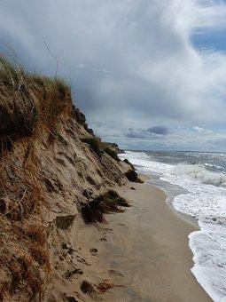Coast, Clouds, Sky, Surf, Sea, Covered Sky, Landscape