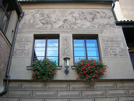 Old Brewery, Detail, Wall Art, Windows, Hanging Flowers
