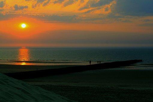 Sunset, Abendstimmung, Mirroring, Sea, Horizon, Sun