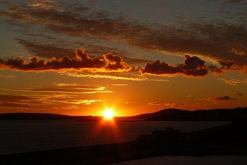 Sunset, Afterglow, Evening Sky, Landscape, Nature
