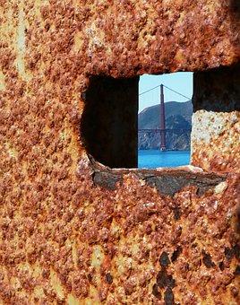 Prison, Alcatraz, View, Door, Texture, Rust, Keyhole