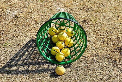 Basket, Golf Balls, Golf, Ball, Grass, Sport, Outdoors