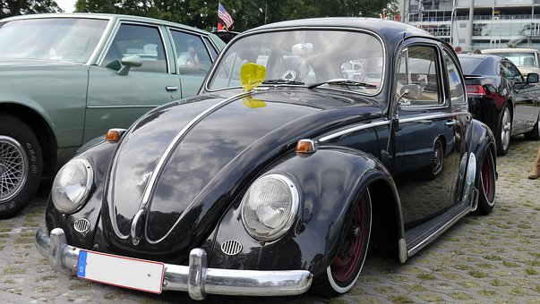 Auto, Old, Oldtimer, Vw, Beetle, German, Black, Classic