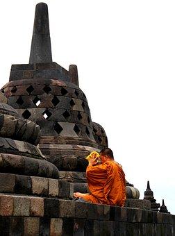 Budha, Sembayang, Biksu, Candi Borobudur, Magelang