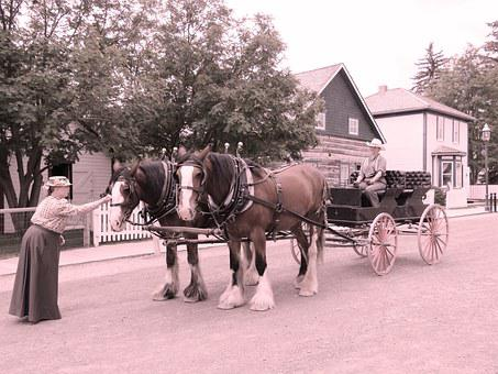 Horse Drawn Carriage, Pioneer, Wagon, Old, Carriage